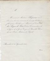 Bruxelles Mariage 1842 Comte Van Der STEGEN De PUTTE Et Isabelle THEYSSENS Un Exemplaire - Mariage