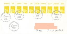 Enveloppe 1er Jour Marianne En Euros Beaujard Avec Bande 10 Timbres Du Haut D'une Planche - 1997-04 Marianne Du 14 Juillet