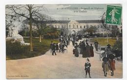 (RECTO / VERSO) MONTPELLIER EN 1913 - N° 9 - PROMENADE DE L' ESPLANADE AVEC PERSONNAGES ET CITADELLE - DUCLAUX - CPA - Montpellier