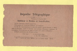 Depeche Telegraphique - 13 Janvier 1871 - Evacuation De Vesoul Haute Saone - Behagnies Sapignies Bopaume - Storia Postale