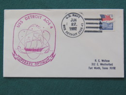 USA 1992 Cover From Ship USS Detroit In Mission In Desert Storm To Texas - Flag - United States