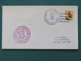 USA 1991 Cover From Ship USS Denver In Mission In Desert Storm To Texas - Flower - Eagle - United States