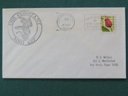 USA 1991 Cover From Ship USS Constant In Mission In Desert Storm To Texas - Flower - Red Cross Slogan - United States