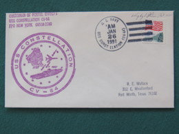 USA 1991 Cover From Ship USS Constellation In Mission In Desert Storm To Texas - Flag - United States