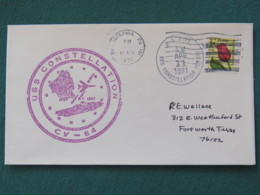USA 1991 Cover From Ship USS Constellation In Mission In Desert Storm To Texas - Flower - United States
