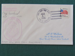 USA 1995 Cover From Ship USS Lake Erie In Mission In Somalia To Texas - Flag - Cover Said From Singapore - United States