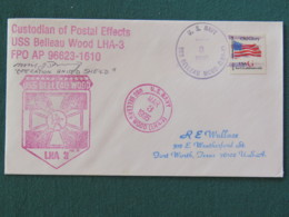 """USA 1995 Cover From Ship USS Belleau Wood In Mission In Somalia """"Operation United Shield - UNOSOM II"""" To Texas - Flag - United States"""