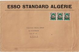 """LBR26 - ALGERIE PREO COSTANTINE BANDE DE 3 SUR LETTRE """"ESSO STANDARD ALGERIE"""" - Algérie (1962-...)"""