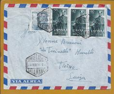 Letter From Salamanca With 3 Stamps From Frei Luis De Leon.700 Years University Of Salamanca.Air Mail.Catholic Church. - 1931-50 Covers