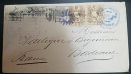 O) 1884 GUATEMALA, NATIONAL EMBLEM 10c Brown, CERTIFIED LIVINGSTON, TO BORDEAUZ, XF - Guatemala