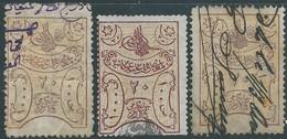 Turchia Turkey Ottomano Ottoman Revenue Stamps, Three Values From (20pa,1000/100), Used - Gebraucht
