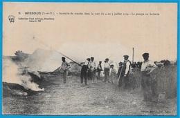 CPA 91 WISSOUS Essonne INCENDIE De MEULES Juillet 1914 La Pompe En Batterie ° Allorge Edition Arnoult * AGRICULTURE Feu - France