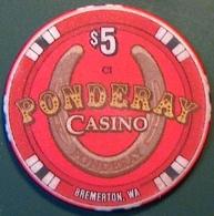 $5 Casino Chip. Ponderay, Bremerton, WA. N06. - Casino