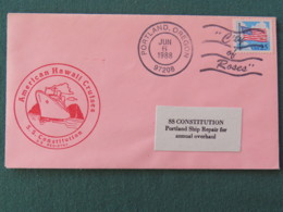 USA 1988 Cover Sent From Ship USS Oregon To Ship SS Constitution In Portland - Flag - Etats-Unis
