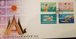 O) 1998 THAILAND, ASIAN GAMES BANGKOK, SHOOTING-RHYTHMIC GYMNASTIES -SWIMMING -WIND SURFING, FDC XF - Thailand