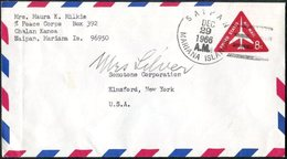 USA 1966 Saipan MARIANA ISLANDS Air Mail Postal Stationery 8c Triangular Triangle Peace Corps Commercial Cover - Northern Mariana Islands