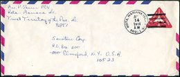 USA 1968 Rota MARIANA ISLANDS Trust Territory Air Mail Postal Stationery 10c Triangular Triangle Commercial Cover - Northern Mariana Islands