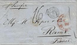 """1855- Lettre De N Y Pour Reims ( Marne ) Steamer """" Pacific"""" Taxe 16 Tampon Entrée: ETATS-UNIS-PAQ-AM / A.CALAIS L - Postmark Collection (Covers)"""