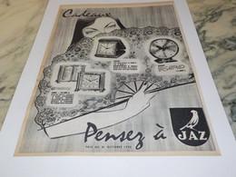 ANCIENNE PUBLICITE PENDULE  CADEAUX  JAZ 1956 - Bijoux & Horlogerie