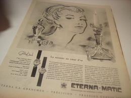 ANCIENNE PUBLICITE COEUR D OR  MONTRE ETERNA.MATIC 1956 - Jewels & Clocks