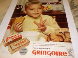 ANCIENNE PUBLICITE PAIN  D EPICES GRINGOIRE 1956 - Affiches
