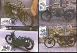 "[13478]CMAX 2615/18, 1995, MB - Motos Anciennes Belges - ""Minerva 1908"" - ""FN 1913"" - ""La Mondiale 1929"" - ""Gillet 1937"" - Maximum Cards"