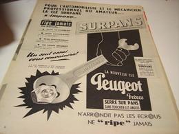 ANCIENNE PUBLICITE LA CLE SURPANS DE PEUGEOT 1955 - Transportation