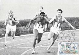 Jeux Olympiques De México 1968, Athlétisme, Relais 4x100, Piquemal-Bambuck Kiev 1966 - Carte Maximum Premier Jour - Olympic Games