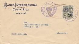 Costa Rica: 1935 San Jose Banco Internacional To Coswig-Tapetenfabrik - Costa Rica
