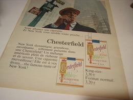 ANCIENNE PUBLICITE CIGARETTE CHESTERFIELD 1966 - Tabac (objets Liés)