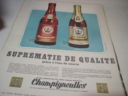 ANCIENNE PUBLICITE SUPREMATIE DE QUALITE BIERE CHAMPIGNEULLES   1966 - Alcohols