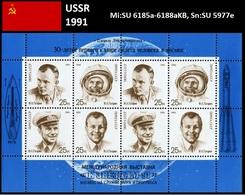 UdSSR 1991 30. Jahrestag Des Bemannten Weltraumfluges Gagarin Mi: SU 6185a-6188aKB, Sn: SU 5977e - 1923-1991 UdSSR