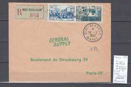 Maroc - Lettre Recommandée Avec Cachet De Sidi Bennour - 1954 - Marcophilie - Morocco (1891-1956)