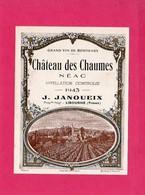 Etiquette Vin, Château Des Chaumes, Néac, Grand Vin De Bordeaux, 1943 - Collections, Lots & Séries