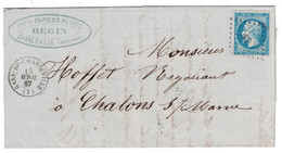 1867 - CAD GARE-DE-CHARLEVILLE (7) AVEC TRAITS D'UNION Sur LAC N °22 LOSANGE AMBULANT E.P. INDICE 17 COTE 220 ARDENNES - Marcophilie (Lettres)