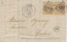 1869- Lettre De St OMER ( Pas De Calais ) Affr. Paire N°28 Oblit. G C 3785 + O R De Moulle - 1849-1876: Periodo Classico