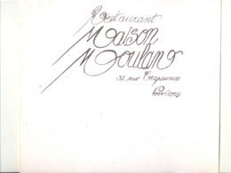 """Carte Avec Menu ( +/- 1975 )  Restaurant """" Maison Moulan """" à VERVIERS (b242) - Menus"""