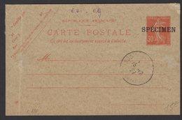 30c Semeuse Rouge Surchargé SPECIMEN Oblt A4 COURS D'INSTRUCTION (Plié) - Cartes Postales Types Et TSC (avant 1995)