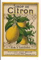 Etiquette Sirop De Citron - Distillerie Louis Bellor , SARL Vve Thomas & Cie 2 Place Mal Pétain Moulins -impr.Jouneau- - Other