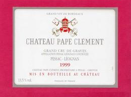 Etiquette Vin, Château Pape Clément, Grand Cru De Graves, Pessac-Léognan, 1999 - Collections, Lots & Séries