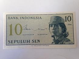 Billete Indonesia. 10 Sen. 1964. Sin Circular. Mujer Soldado - Indonesia