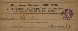 1925- Bande De Journal Affr. 20 C Semeuse N°139 Oblit. ANGERS ( M.& L. ) Pour Le Danemarck - Marcophilie (Lettres)