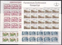 1977 1978 Liechtenstein EUROPA CEPT EUROPE 40 Serie Di 2 Valori In 4 Minifogli  MNH**di 20   4 Minisheets - 1977