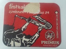 Posavasos Cerveza Primus Saxofonista. Haacht, Bélgica. 1984 - Portavasos