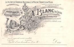 "0715 ""TORINO-A. BLANC FU LUIGI-ANTICA FABBRICA NAZ.LE DI MACINE FRANCESI DA MOLINI-BOZZETTO TIPOG. PER CARTOLINA COMM."" - Publicités"