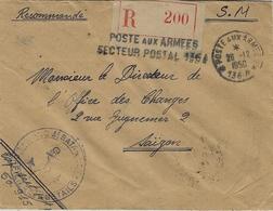 """1950- Enveloppe RECC. En S M """" POSTE AUX ARMEES / S P 136 A  Pour Saïgon - Marcophilie (Lettres)"""