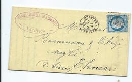 N° YT 60c Sur Lettre De Nantes à Thouars 1876  Convoyeur Quimper à Nantes - Marcophilie (Lettres)