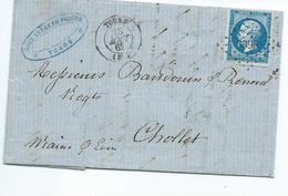 N° YT 14A Sur Lettre De Tours Pour Cholet 1862  Convoyeur Paris à Nantes - Marcophilie (Lettres)