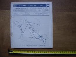 1949 Dépliant Horaires Timetable AIR FRANCE Vols Metropolitains Aériens AVIATION - Aviation Commerciale