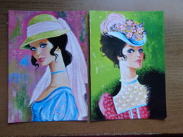 4 Fantasie Kaarten, Dames - Mode (Savir - Barcelona) --> Onbeschreven - Cartes Postales